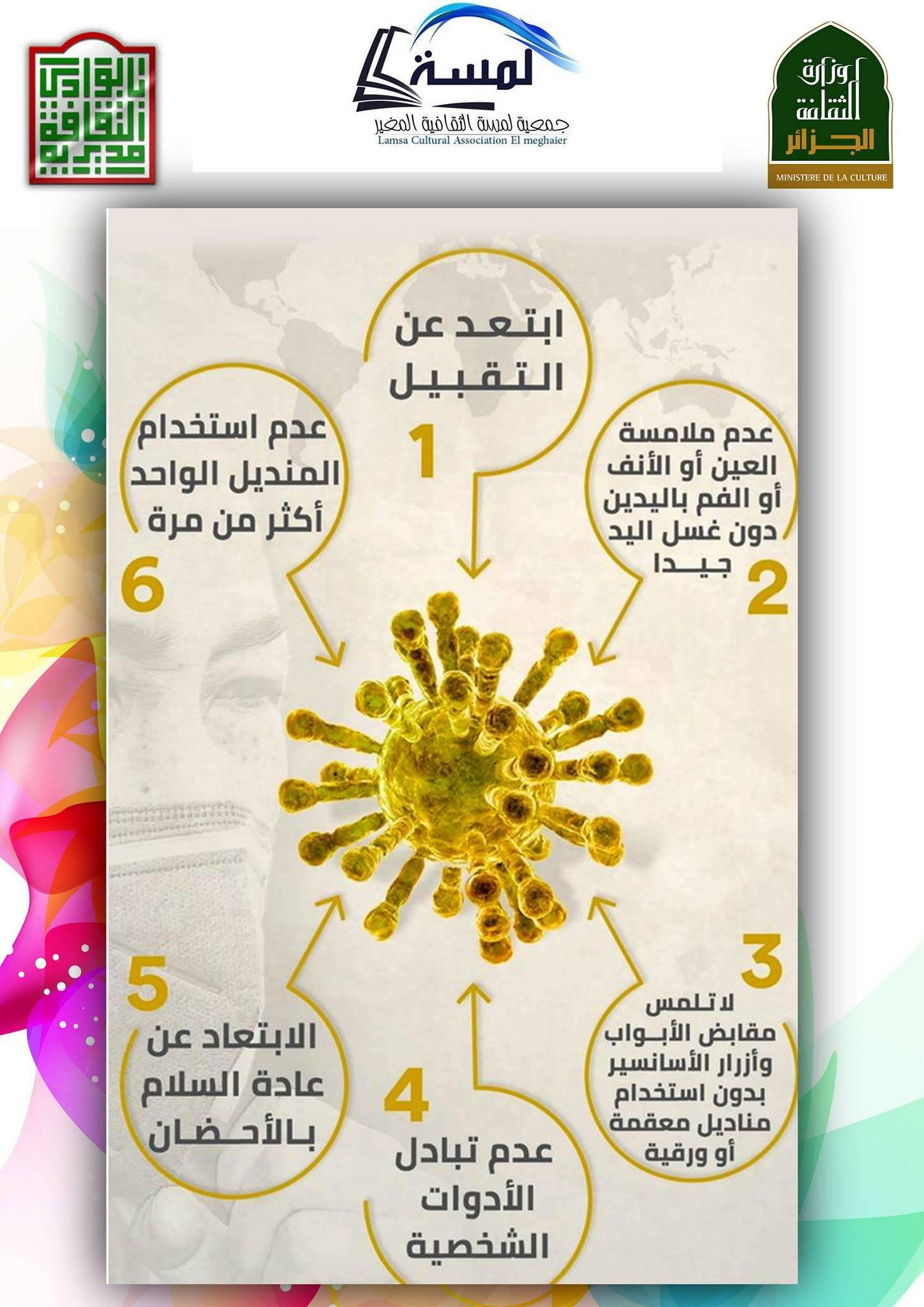 حملة تحسيسة لتفادي فيروس كوفيد 19 - جمعية لمسة الثقافية المغير