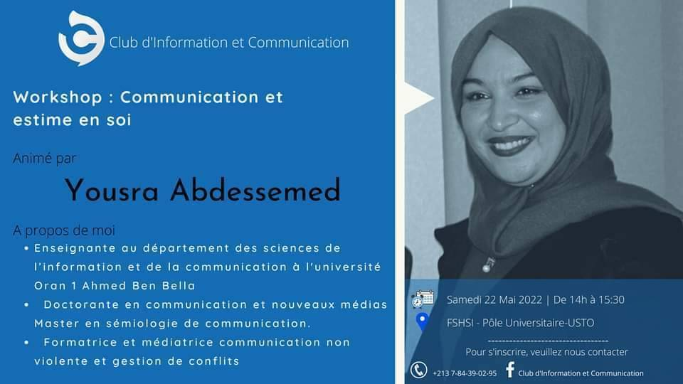 Workshop: Communication et estime de soi - Club d'Information et Communication | نادي الإعلام و الإتصال